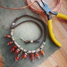Necklace carnelian #WireGalaxy #wire #wrapped #jewerly #choker ##Carnelian #wirewrap #red #pendants #fantasy #Necklaces #tribal