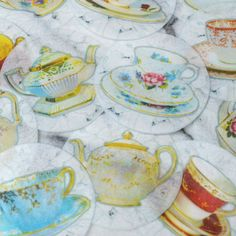 Edible Tea Cups Teapots Lace Images - Wafers Paper Cake, Decorations Cupcake Biscuit Toppers Afternoon Tea Party Wedding Alice in Wonderland
