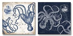 Gango Home Decor Mariner's Compass and Map Indigo and Grey Octopi Coastal Art; Two Stretched Canvases; Ready to Hang! Artwork Prints, Poster Prints, Posters, Indigo, Whale Nursery, Mariners Compass, Octopus Print, Nautical Art, Nautical Kitchen
