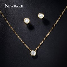 Cheap jewelry sets, Buy Quality women jewelry set directly from China set gold Suppliers: NEWBARK Women Jewelry Set Gold Color With Round Cubic Zircon Pendant Necklace Small Stud Earrings For Women Simple Bijoux Women's Jewelry Sets, Wedding Jewelry Sets, Stylish Jewelry, Simple Jewelry, Body Jewelry, Women Jewelry, Jewellery, Diamond Necklace Set, Pendant Necklace