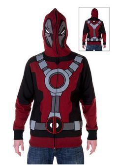 Disfigured and mentally unstable mercenary always make the best superheroes. Keep your face covered while fight crime (or as being the criminal) with this Adult Deadpool Hoodie