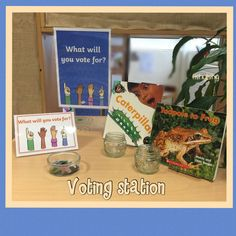 Voting station. Children will vote for the book to read at the end of the day. Could be used for other books, activities, events etc in an Early Years classroom.