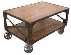 Recycled Timber Topped Industrial Steel Trolley