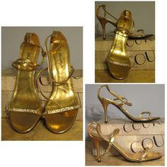 """Herstyle Gold Evening Sandals Mimosa by Herstyle is a special occasion gold dress sandal with white rhinestone jeweled strap in front and ankle strap. Sitting on a 3"""" gold stiletto. Herstyle Shoes Sandals"""