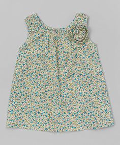 Aqua Rosette Swing Dress - Infant & Toddler