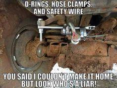 "I always had that ""extra"" stuff in my toolbox! Car Jokes, Funny Car Memes, Car Humor, Funny Shit, Jeep Funny, Crazy Funny, Funny Stuff, Redneck Humor, Mechanic Humor"