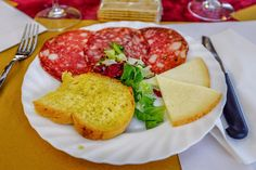 Italian food! #cheese, sliced #salami, bruscetta with #evo extra virgin olive oil ... delicious!