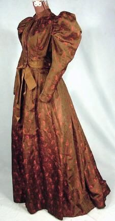 Victorian Dress - c. 1892 Wrapper in Olive and Red Shot Broche with Olive Satin Ribbon!