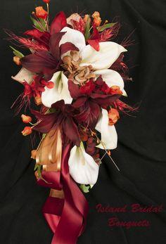 CELTIC BRIDE FALL WEDDING BOUQUET BURGUNDY CREAM ORANGE 17 PIECE