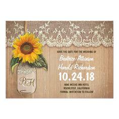 rustic sunflower mason jar save the date cards