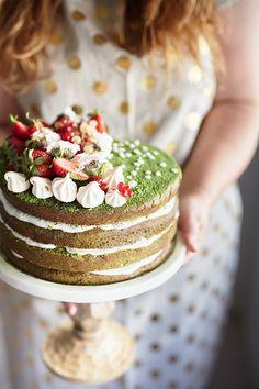 Matcha Layer Cake with Black Sesame Cream Cheese