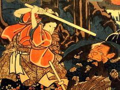 Minamoto Yoshitsune fencing with tengu demons, by Utagawa Kuniyoshi  部分