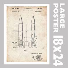 V2 ROCKET VON BRAUN NAZI VENGENCE MISSLE 1961 US PATENT PRINT 18X24 POSTER GIFT #patentart