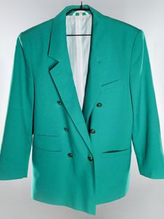 Oversized vintage blazer in bright green color from the / Vintage fashion Teal Green Color, Bright Green, Broad Shoulders, Double Breasted Blazer, Vintage Shops, Just In Case, Vests, Going Out, Blazers