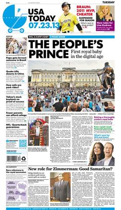 The People's Prince! Front page of the USA Today newspaper for 7-23-13 day after Kate gives birth.