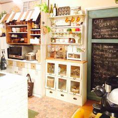 Kitchen/カフェ風/いなざうるす屋さん/RC九州支部/しゃれとんしゃあ会/食器棚のリメイク...などのインテリア実例 - 2014-11-13 14:52:09 | RoomClip (ルームクリップ)