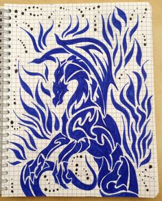 Trbal drawing ~ dragon, fire -Coline210