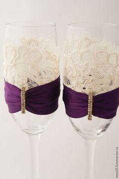 Свадебные бокалы с кружевом. Handmade.