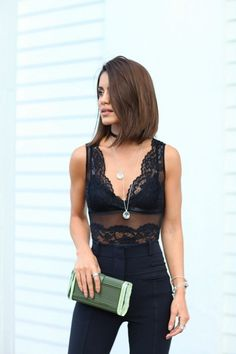 Top  Bodysuit  Black  Floral  Patterned  Sheer  See through  Sleeveless  Arm  Tucked in  Pants  Trousers  High waisted  Purse  Clutch  Green  Ring  Silver  Multiple  Necklace  Layered  Bracelet  Summer  Spring  P522