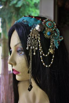 Tribal Fusion Headpiece- Cyanus- Burning Man, Festival, Bellydance, Wedding