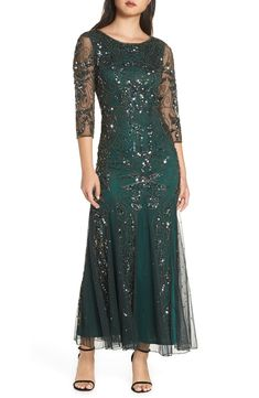 Find and compare Pisarro Nights Embellished Mesh Gown (Regular & Petite) across the world's largest fashion stores! Mob Dresses, Casual Dresses, Bride Dresses, Dresses Online, Famous Wedding Dresses, Sheer Sleeve Dress, Fantasy Gowns, Dress Shapes, A Line Gown
