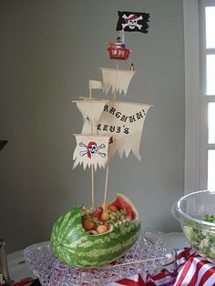 pirate ship made out of watermelon & filled with fruit salad