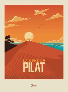 Dune of Pilat Arcachon Bay France - 14303 - Old Poster, Retro Poster, Party Vintage, Retro Vintage, Marcel, Le Pilates, Graphisches Design, Vintage Travel Posters, Grafik Design