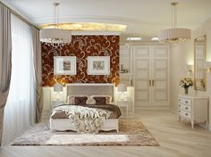 Traditional elegant bedroom: classic and dramatic : red cream bedroom decor. Bedroom Color Schemes, Bedroom Colors, Awesome Bedrooms, Beautiful Bedrooms, Beautiful Wall, Cream Bedroom Decor, White Bedroom, Floral Bedroom, Modern Classic Bedroom
