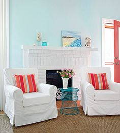 Blue is one of the most popular decorating colors, and it acts as a neutral because it can be paired with anything. Try a coastal combination, with beachy blues and sandy tans, or go with the complementary orange and blue combo. Green, coral, orchid, red, white, and neutrals also all pair well with this favorite hue.