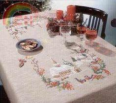 Permin of Copenhagen - 58-0260 - Christmas Tablecloth-Cross stitch Communication / Download-Cross stitch Patterns Scanned-PinDIY -
