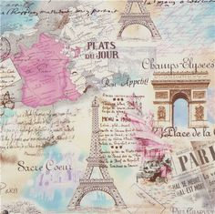 images of ieffel tower fabric | Paris Eiffel Tower fabric by Timeless Treasures pastel - Retro Fabric ...