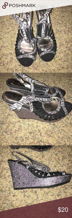 Daytrip zebra wedges Gently worn Daytrip Shoes Wedges