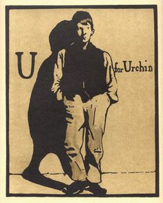 U for Urchin by William Nicholson 1898 Lithograph Alphabet Print Woodblock Print 1975 Poster Print Home Decor Print Fine Art Print William Nicholson, Wood Engraving, Antique Prints, Gravure, Woodblock Print, Artist Art, Urban Art, All Art, Poster Prints