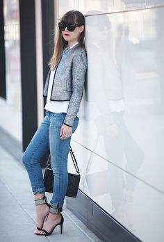 jeans with sophisticated blazer
