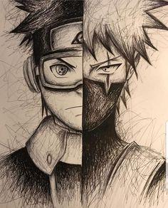 Manga Drawing Kakashi and Obito Fan Drawing Anime Naruto, Naruto Art, Naruto Shippuden Anime, Boruto, Narusaku, Kakashi Drawing, Naruto Drawings, Anime Drawings Sketches, Pencil Drawings