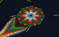 Native American Medallion Necklace Huichol by BiuluArtisanBoutique Seed Bead Earrings, Crochet Earrings, Collar Indio, Beading Techniques, Native American Beading, Crochet Dolls, Beaded Flowers, Bead Art, Diy Jewelry