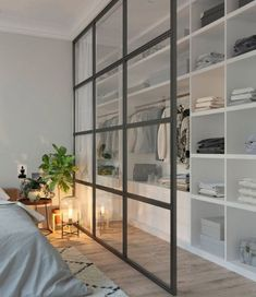 Home Interior Livingroom 71 Gorgeous Scandinavian Bedroom Decorating Ideas.Home Interior Livingroom 71 Gorgeous Scandinavian Bedroom Decorating Ideas Closet Bedroom, Home Bedroom, Bedroom Storage, Closet Wall, Room Divider Ideas Bedroom, Room Dividers, Curtain Closet, Master Bedrooms, Glass Room Divider
