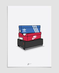 Originally created illustration, Triple Brand Stack The ideal for the home or office, ideal for sneakerheads. Sneakers Wallpaper, Shoes Wallpaper, Hype Wallpaper, Screen Wallpaper, Iphone Wallpaper, Trill Art, Supreme Wallpaper, Hypebeast Wallpaper, Sneaker Art