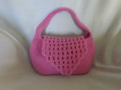 Pink Hand Knit & Felted Purse by SpendTimeWithYarn on Etsy, $28.00