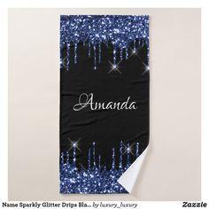 Name Sparkly Glitter Drips Black Blue Navy Bath Towel Glitter Home Decor, Artwork Design, Bath Towels, Print Design, Create Your Own, Vibrant, Navy, Prints, Blue