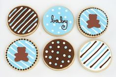 Baby shower cookies-these look possible with store bought sugar cookies.