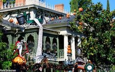 Disneyland's haunted mansion decorated for Nightmare before Christmas