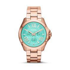 Eine wunderschöne sommerliche Uhr von Fossil in Roségold mit zartem Mint-Display. #uhr #statement #sommer #christjuweliere #rosegold #rosé #gold #watch