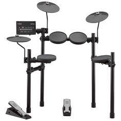The Yamaha E-Drum Set is a high-quality e-drum set with numerous coaching functions and 287 + 128 sounds. It features 10 fully editable kits and a built-in metronome. Yamaha Drum Kit, Yamaha Bass, Usb, E Drum Set, Digital Drums, Drum Throne, Acoustic Drum, Drum Pedal, Shoes