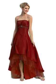 Gorgeous Sexy Long Strapless Burgundy High Low Prom Dress Junior Prom  Dresses b09d44a10