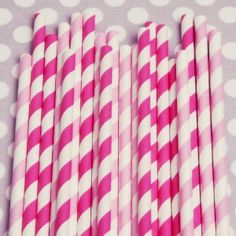 """Sip in style with our signature blend of pink and fuchsia straws. You will receive one pack of 20 pinky perfect straws.    Straws measure approx. 7.75"""" in length. They are printed with food-safe ink and are biodegradable."""