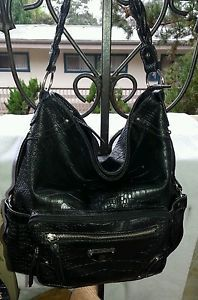 Treviso-Black-Faux-Alligator-Skin-Hobo-Shoulder-Bag