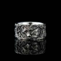 """Silver wolf ring """"Wolf tenderness"""" from Kochut. Ring with wolf love, valentin Promise Rings For Couples, Rings For Men, Fox Jewelry, Jewellery, Wolf Love, She Wolf, Personalized Gifts For Men, Animal Rings, Black Rhodium"""