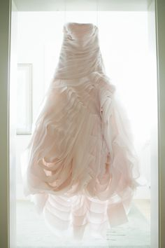 Spectacular Blush Wedding Gown by Vera Wang; Photography by harwellphotograph...