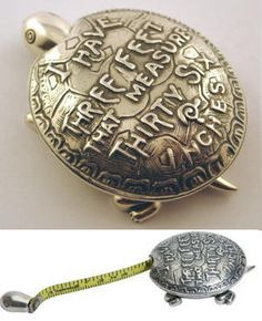 A fabulous sterling silver turtle tape measure. Pull the head and out rolls a 1 metre tape measure that will recoil when let go.